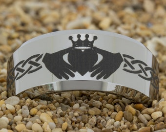 10mm Beveled Tungsten Carbide Band Celtic Claddagh Design Ring-Free Inside Engraving And Free US Shipping
