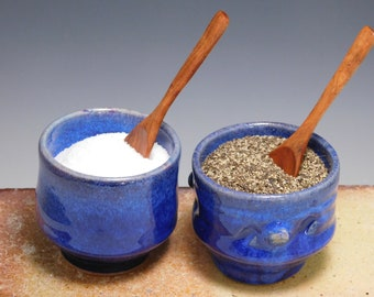 685 Salt and Pepper Pinch Bowls-Wooden Spoon - Set- Thrown on the Potter's Wheel, Tea Cups, Sake