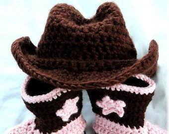 Hand Crochet Baby Boot Scootin  Cowboy Cowgirl Hat Newborn-4T 8fd58d22bc2