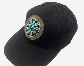 b4dd935c2d9 Hand Beaded Baseball style Cap with Leather Beaded Medallion Patch
