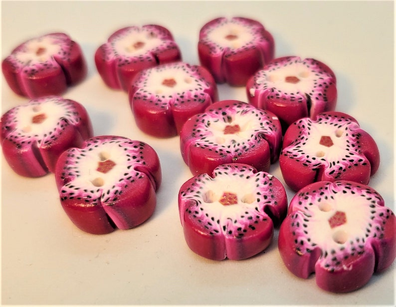 Handmade Flower Shaped Magenta and White Speckled Polymer Clay Two Hole Buttons; Handmade Buttons; Flower Buttons; Handmade Flower Buttons