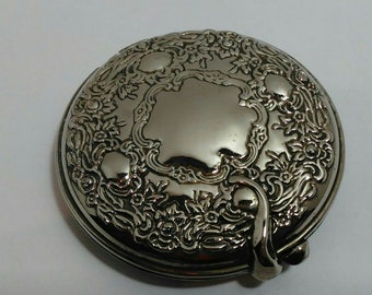 Vintage Silver Plated Compact with Mirror Flowers Leaves Design Pocket Mirror Ornate Design