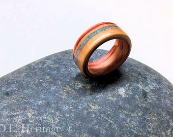 Exotic Zebrawood ring with turquoise inlay size 9.5