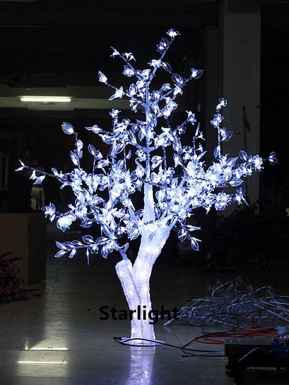 5ft 1 5m Outdoor Led Crystal Cherry Blossom Tree White Flower Etsy