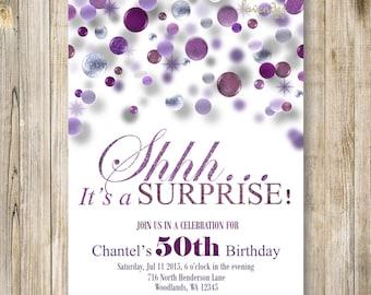 SURPRISE 40th Birthday Party Invitation Shhh Its A Surprise Invite Purple Glitter Invites Woman 50th 60th