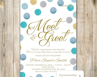 Meet and greet etsy meet and greet invitation gold blue glitters meet the baby invite sip and see party blue baby boy shower baby open house announcement m4hsunfo