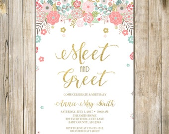 Meet and greet etsy digital floral meet and greet invitation teal pink gold glitters meet the baby invite sip see open house printable baby girl shower m4hsunfo