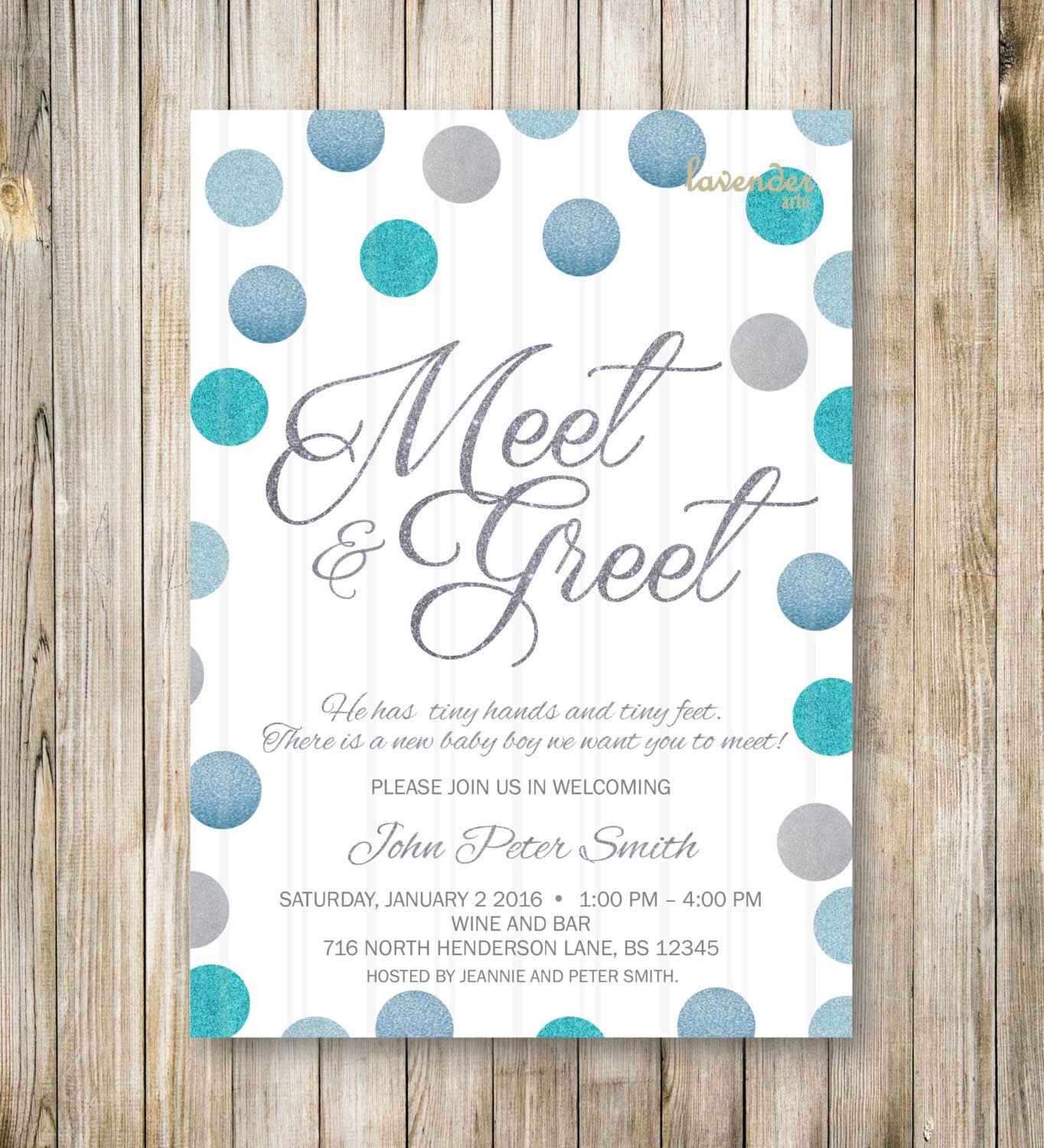 Meet and greet invitation silver blue glitters meet the baby etsy zoom m4hsunfo