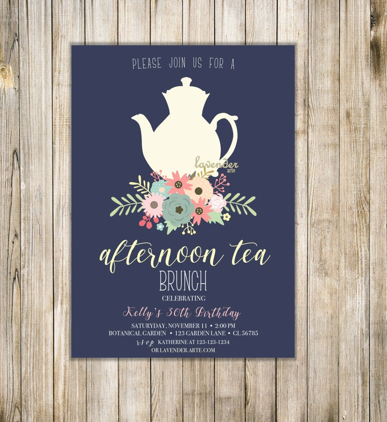 Navy Afternoon Tea Invitation Woman 30th Birthday Tea Party Etsy