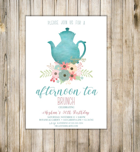 high tea invitation bohemian afternoon tea invite women 30th etsy