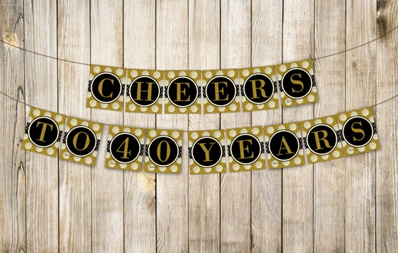 digital cheers to 40 years birthday banner men women etsy