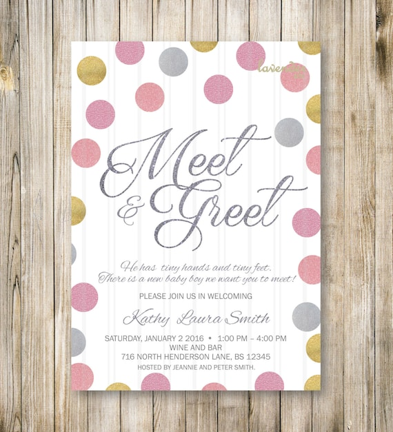 Meet And Greet Invitation Pink Gold Silver Meet The Baby Etsy