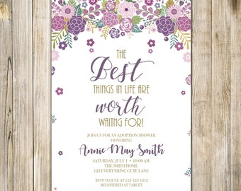 BEST Things are WORTH WAITING for Invitation, Floral Worth Waiting Invite, Baby Adoption Celebration, Motherhood Miracle, Purple Plum Gold