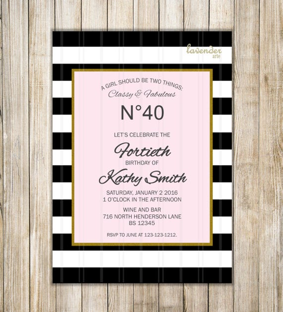 Classy and fabulous black stripes birthday invitation etsy image 0 filmwisefo