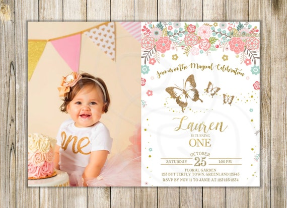 BUTTERFLIES 1st BIRTHDAY Invitation Pink Gold Butterfly Invite Girls First Birthday Party Floral Photo