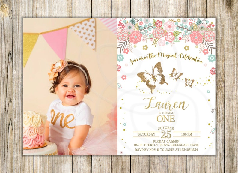 BUTTERFLIES 1st BIRTHDAY Invitation Pink Gold Butterfly