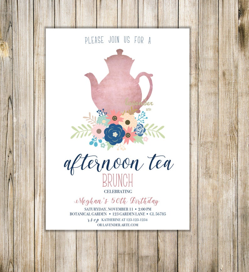 BIRTHDAY TEA PARTY Invitation Floral Afternoon Tea Invite