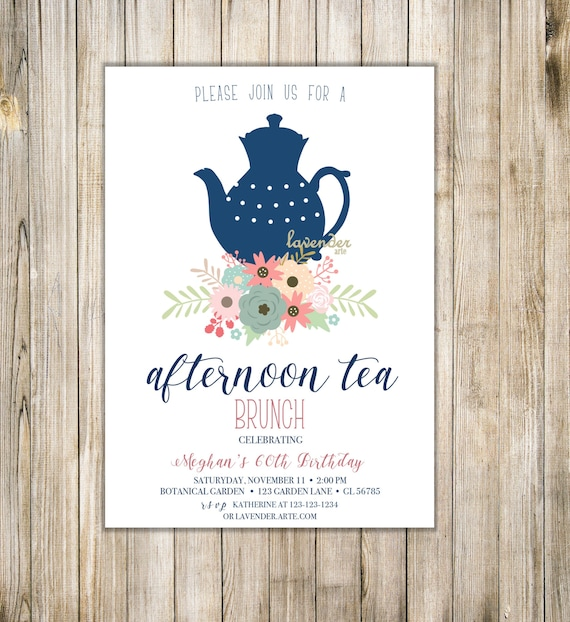 Rustic Afternoon Tea Invitation Women 60th Birthday Tea Party Etsy