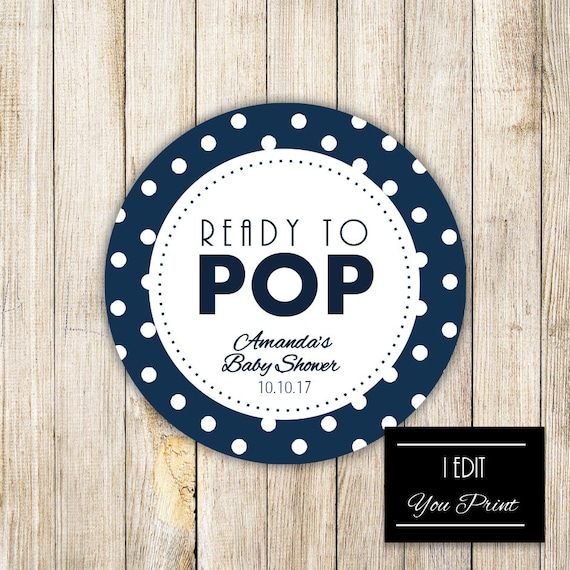 Digital Ready To Pop Baby Shower Gift Tag Navy Blue Polka Etsy