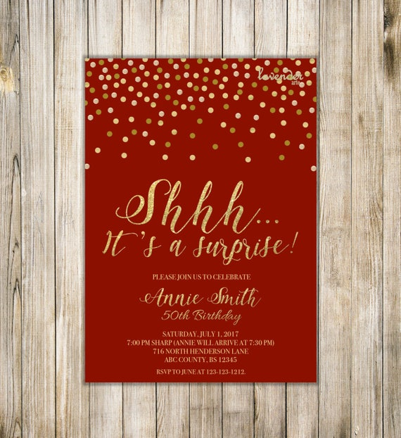 Items Similar To Shhh It's A SURPRISE BIRTHDAY Invitation