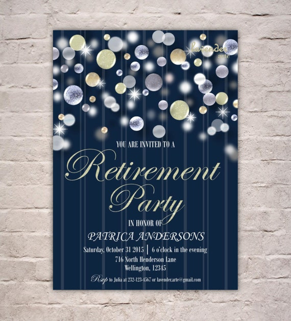 navy blue retirement party invitation nautical retirement etsy