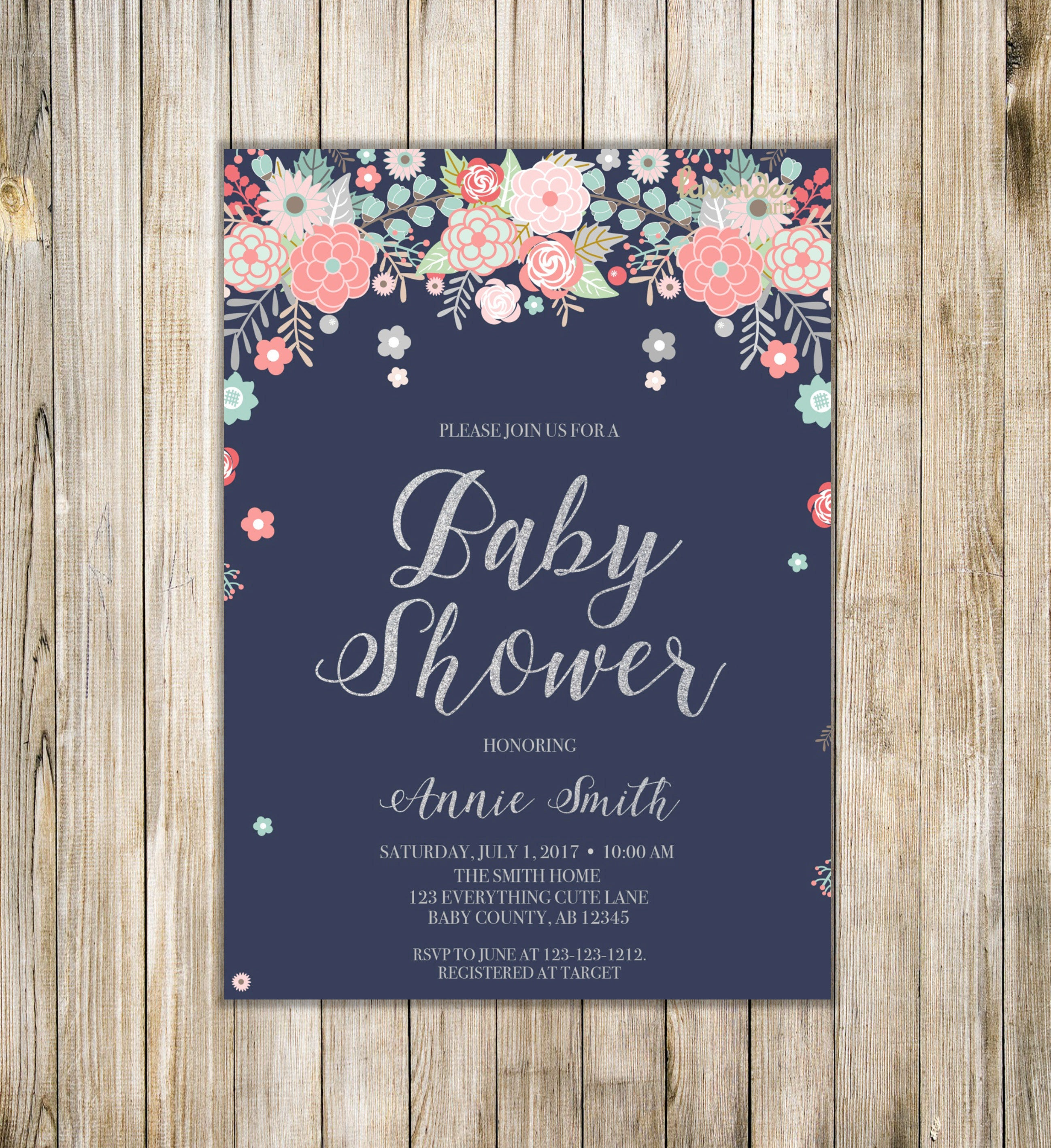 FLORAL BABY SHOWER Invitation Rustic Baby Girl Shower Invite | Etsy