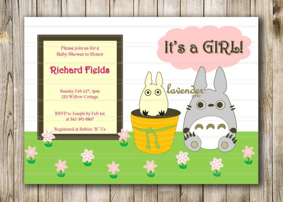 Baby Shower Invitation New Baby Invite Totoro In the Fields