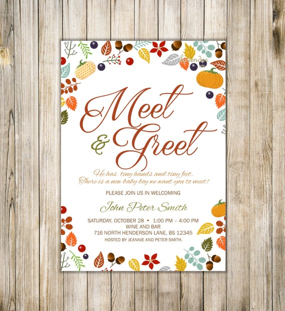 Fall meet and greet invitation fall meet the baby invite sip etsy image 0 m4hsunfo