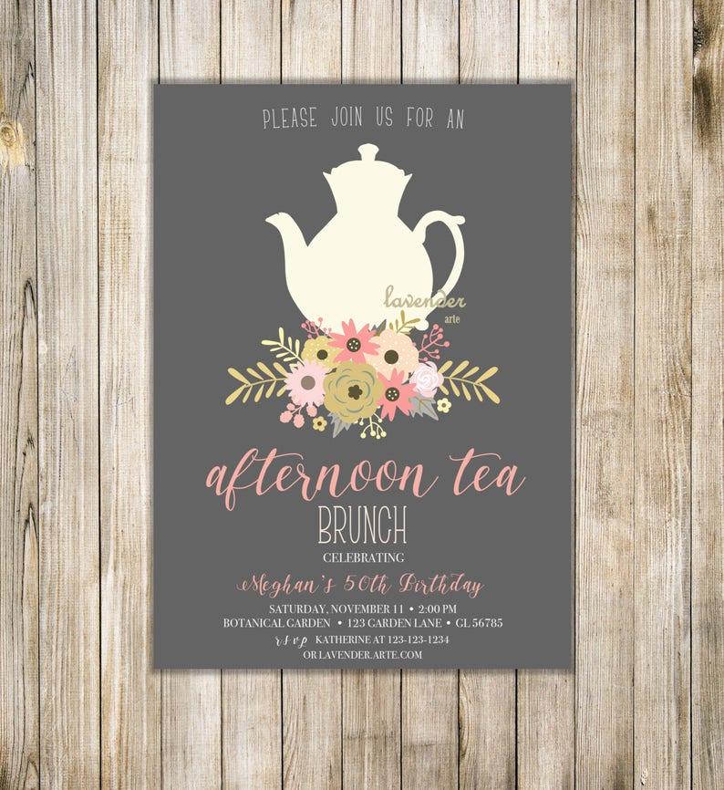 AFTERNOON TEA Invitation Shabby Chic Birthday Tea Party