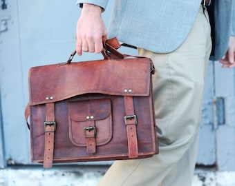 Custom Men's Leather Messenger Bag