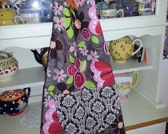 Damask and Floral Reversible Apron