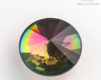 Vintage Swarovski vitrail crystal foil back cabochon. Art. 2006. 18mm. Flat back. Pointed top. Sold individually. B5-873