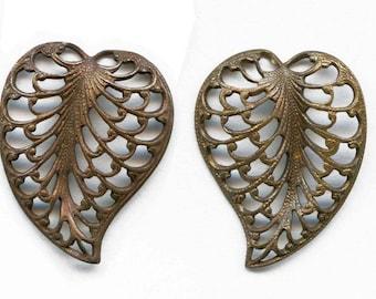 Brass filigree leaf. 15x20mm 1 pair. B9-0541