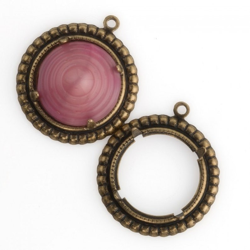 b9-2388 Sold individually Stamped oxidized brass round pronged setting for 17mm cabochon 28x15mm