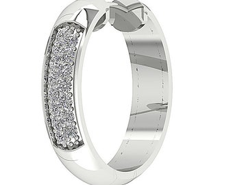 8706a431b VVS1 E 0.08 Carat Round Cut Diamond Single Hoop Huggie Earrings 0.55 Inch 14K  White Yellow Rose Gold Prong Setting Appraisal