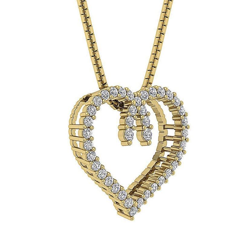 0782de5abf41a6 Heart Pendant Necklace SI1 G Real 0.50ct Round Cut Diamond | Etsy
