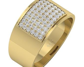 Unique Men's Engagement Wedding Ring I1 G 1.00 Carat Genuine Diamond 14K White Yellow Rose Gold Pave Setting Appraisal Certificate