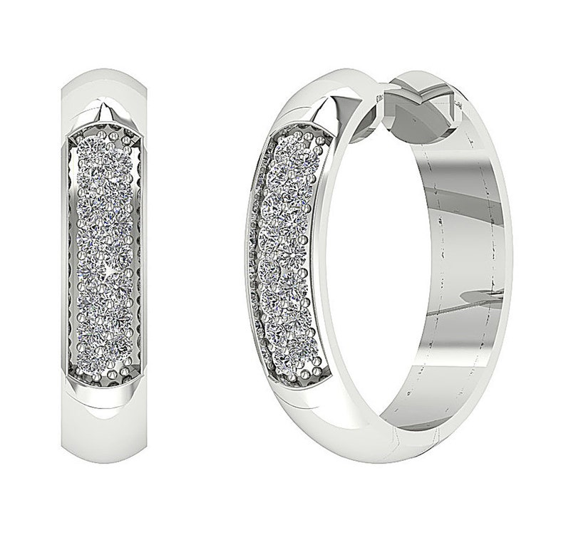 Fine Earrings Round Diamond Hoop Earring 0.55 Ct SI1 G 0.60 Inch 14K White Yellow Rose Gold