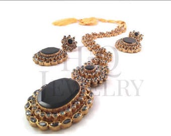 BLACK ONYX earrings and necklace Pakistani / Indian Jewelry
