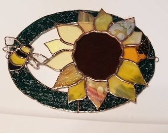 Stained Glass Sunflower and Bee