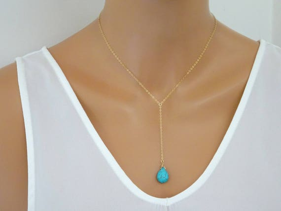 Long turquoise necklace Lariat y necklace gold Chain necklace Chunky Pendant necklace Trending now Grandma necklace 50th anniversary gift