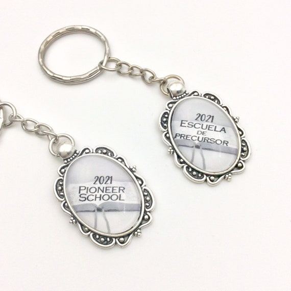 JW Pioneer School Class of 2021 Keychain .  Historic keepsake. Great gift idea! Available in lots of 1, 3, 5, and 10