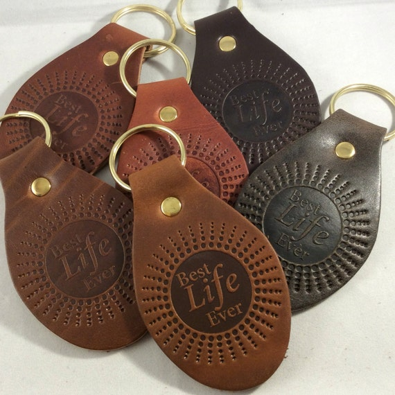 Best Life Ever Top Grain Leather Oval Keychain JW