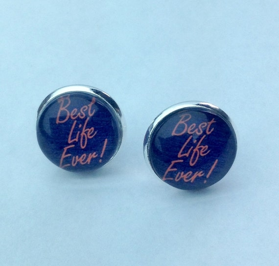 """JW HI-Vis Yellow or Orange """"Best Life Ever"""" Earrings. 14mm glass  In velvet gift pouch."""