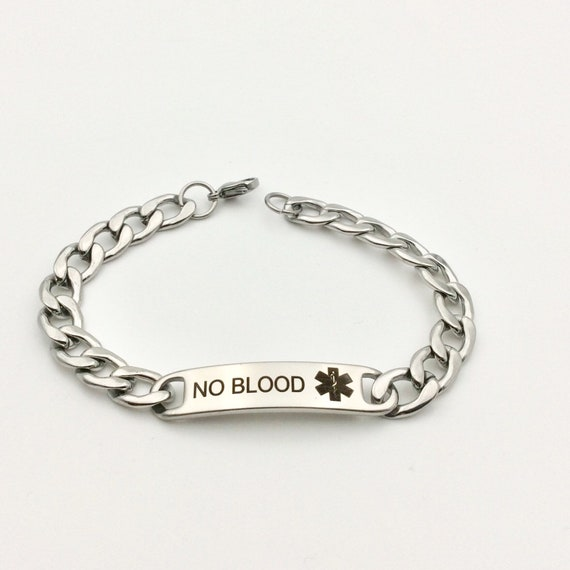 "Stainless Steel ""No Blood"" Chain Bracelet with Blue Monkey Gift Bag"