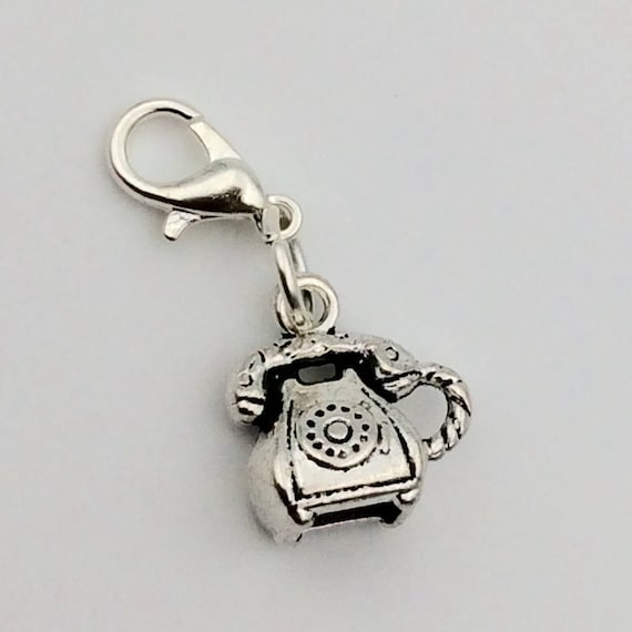 JW Charm, Dangle Pioneer Phone Winessing, European Style or Lobster Claw, Silver-tone.  Blue monkey velvet gift pouch