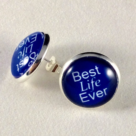 JW Best Life Ever Post Earrings 14mm Glass, Antique Brass or Silver tone metal. Choice of many colors.  Blue velvet gift pouch