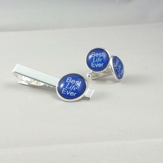 JW Best Life Ever Cufflinks /Tie bar Set 14mm /20mm Silver-tone and Glass.  Blue Velvet gift bag, Eight color choices!