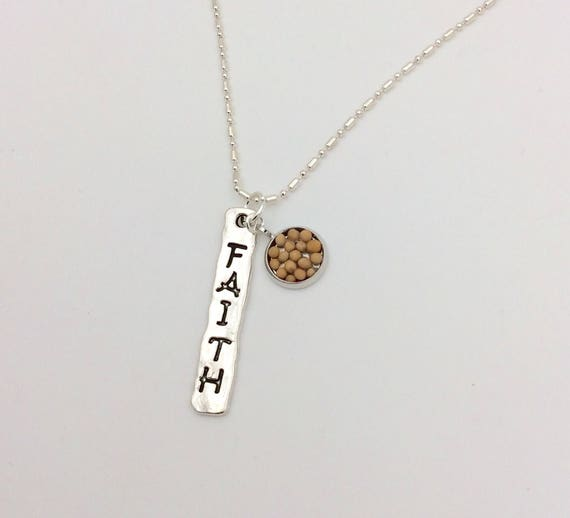 JW Faith Stamped Pendant with mustard seed circle dangle. Silver plated chain included.