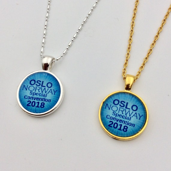 JW Circle Pendant -Oslo Norway 2018 Special Convention, Silver or Gold tone. Blue Velvet Gift Bag Included!